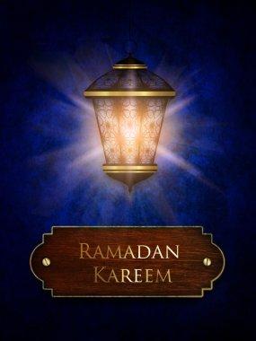 ramadan kareem card with shiny lantern