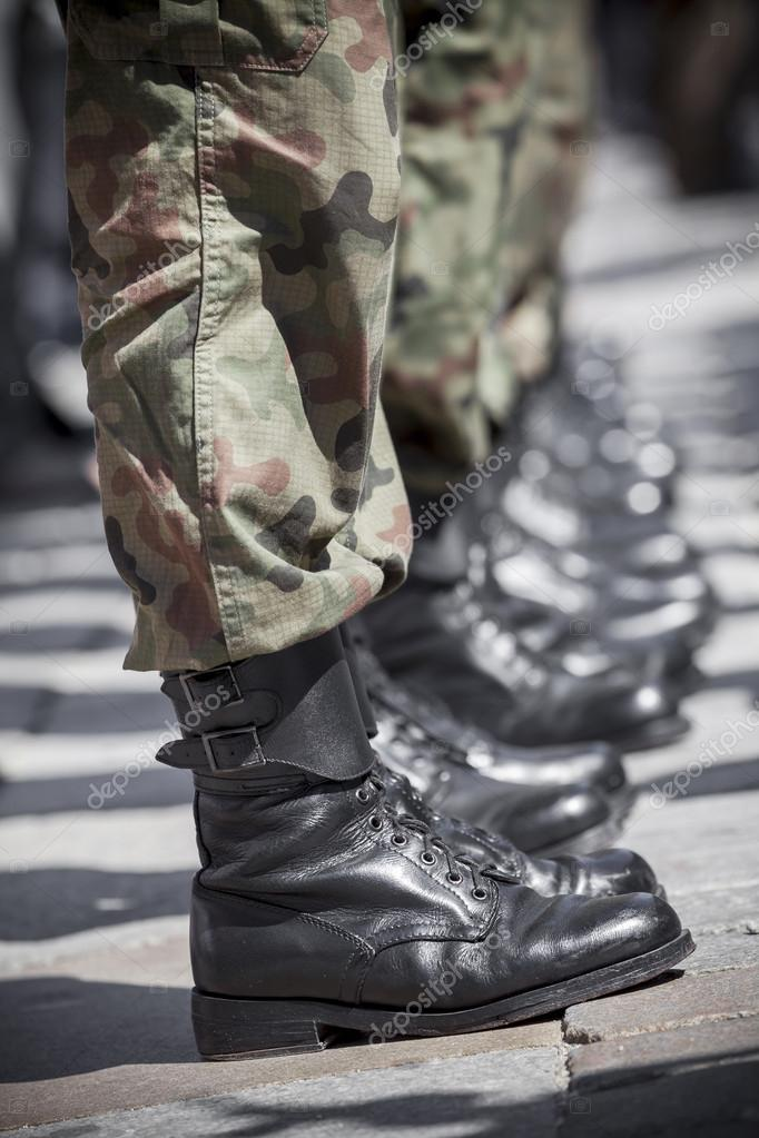 Army parade - military force uniform soldier boot row
