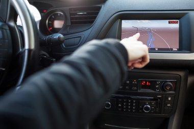 Modern car dashboard with GPS