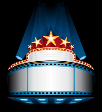 Illuminated big cinema marquee with stars stock vector