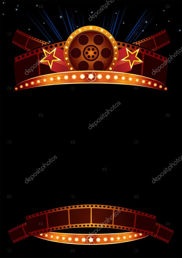 Big cinema marquee with film and stars stock vector