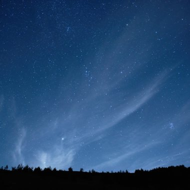 Blue dark night sky with stars.