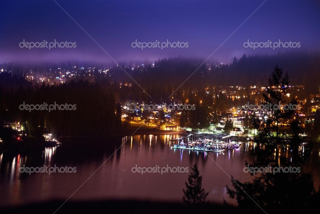 View of night city