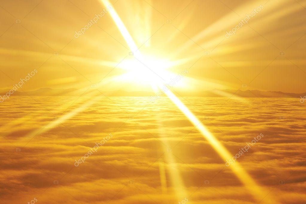 Sky, sunset sun and clouds