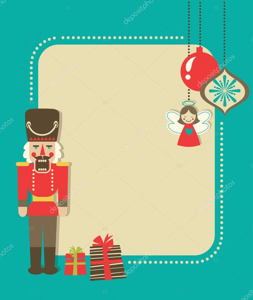 tarjetas vintage con Cascanueces y adornos de Navidad — Archivo ...