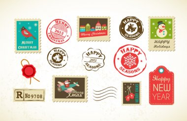 Christmas collection with vintage postage stamps clip art vector