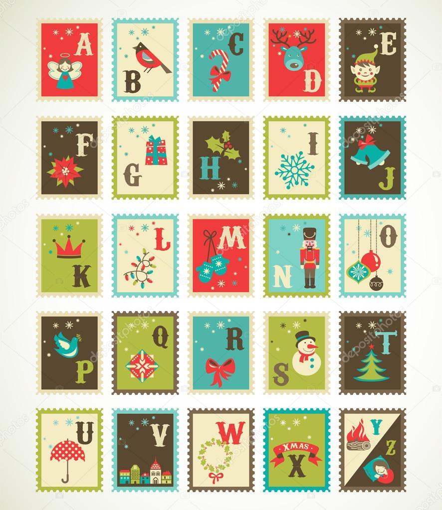 Christmas retro alphabet with cute vector xmas icons