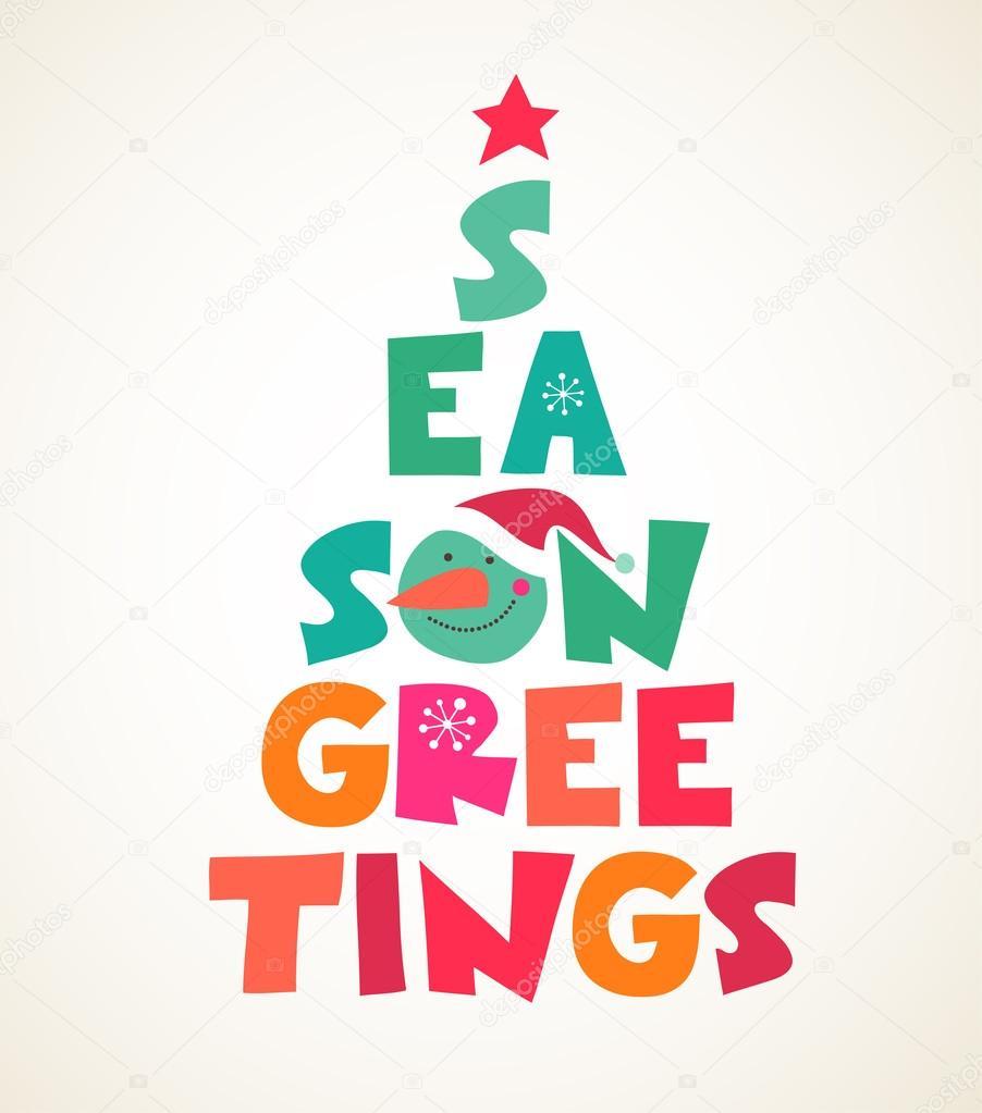 christmas tree with season greetings cute cutout text u2014 stock