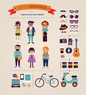 Hipster info graphic vector background stock vector