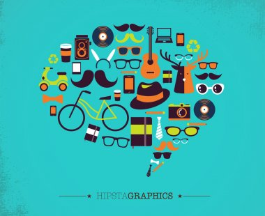 Hipster speech bubble with icons