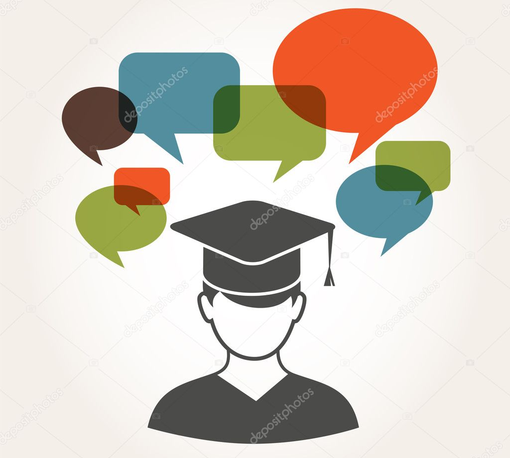 Student with speech bubbles