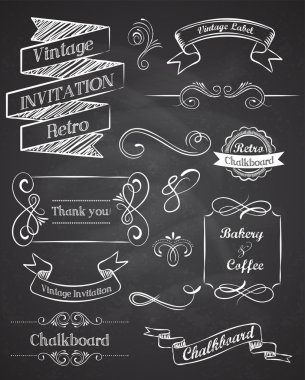 Chalkboard Hand drawn vintage vector elements