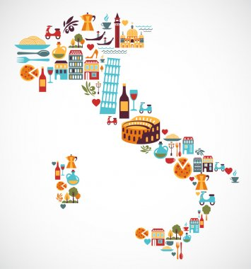 Italy map with vector icons