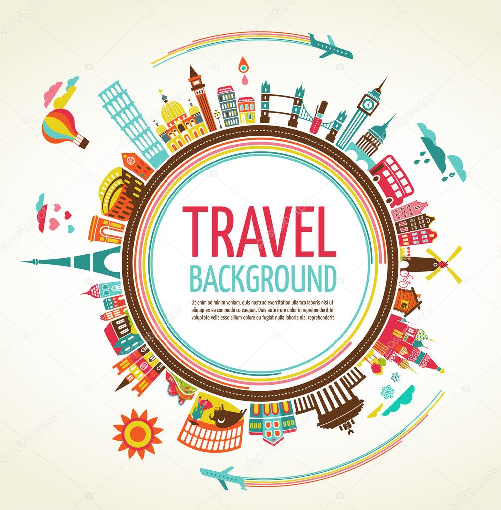 Travel and tourism vector background — Stock Vector © marish #22300827