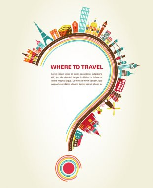 Where to Travel, question mark with tourism icons and elements