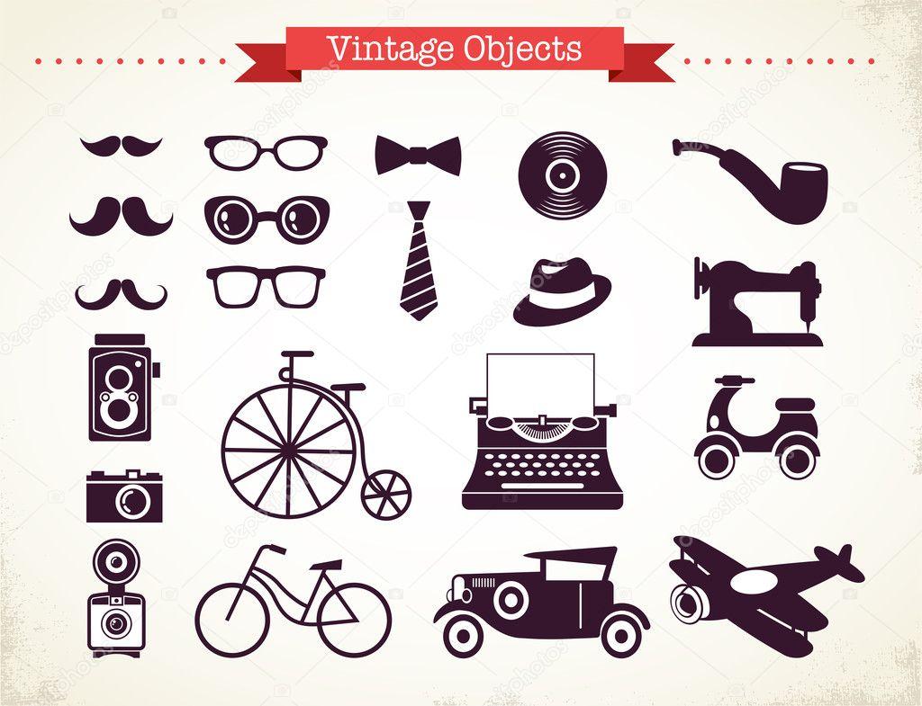 coleccin de objetos vintage hipster u archivo imgenes vectoriales