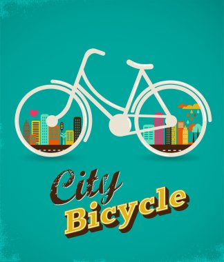 Bicycle in the city, vintage style poster