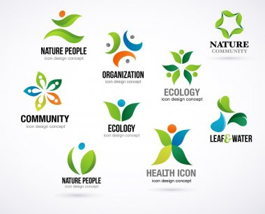 Vector green nature symbols, elements and icons