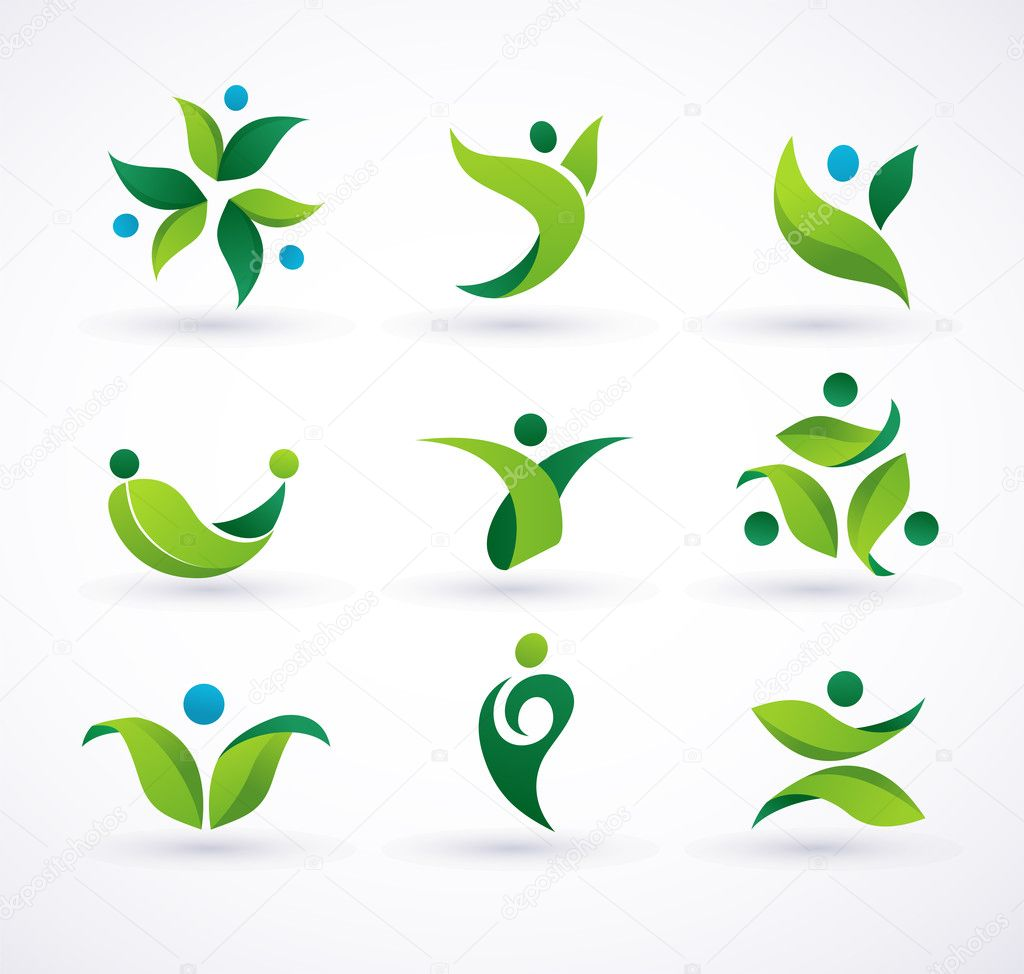 Vector green ecology icons