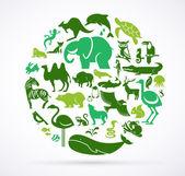 tierische grüne Welt - riesige Sammlung von Ikonen