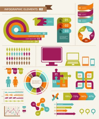 Elements and icons of graphic info, Vintage infographics set clip art vector