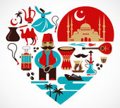 Photo Turkey- heart with set of vector illustrations
