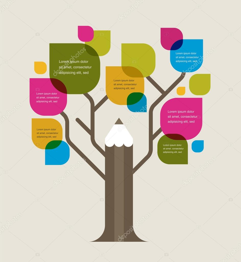 Colorful education tree with pencil and text space
