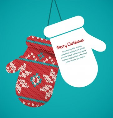 Knitted mittens Christmas vector background