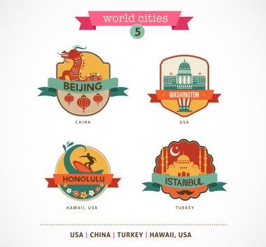 World Cities labels - Beijing, Istanbul, Honolulu, Washington,