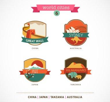 World Cities labels - Sydney, Great Wall, Fuji, Kilimanjaro