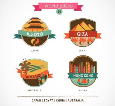 World Cities labels - Kyoto, Giza, Adelaide, Hong Kong,