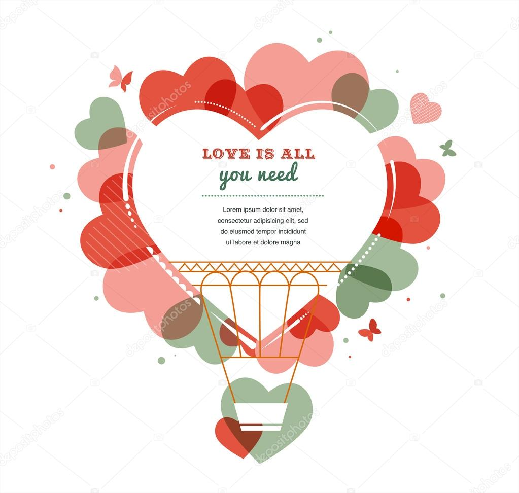 Love background - heart shape hot air balloon