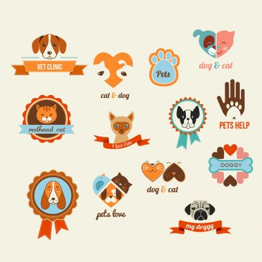 Pets vector icons - cats and dogs elements