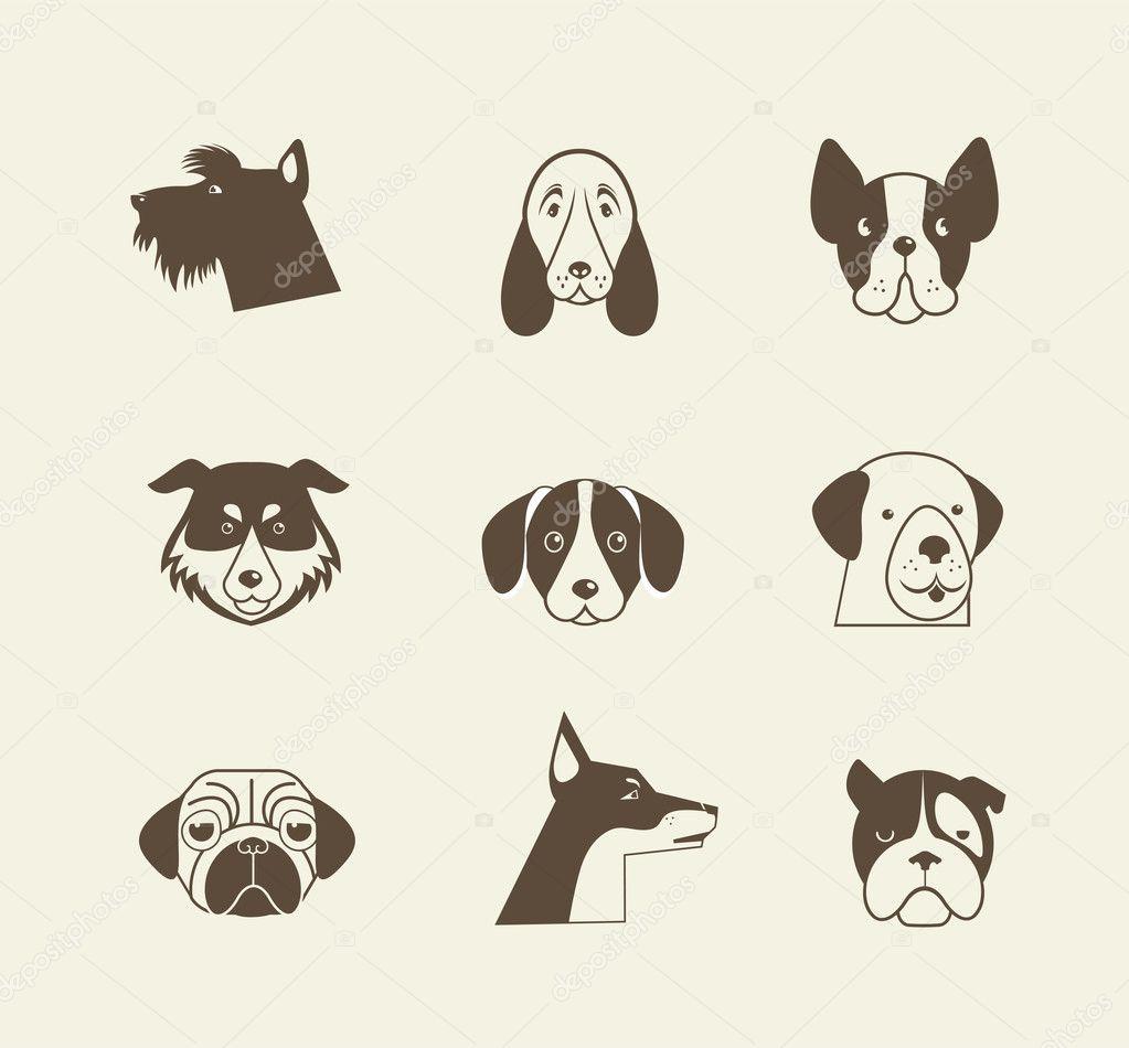 vector iconos gatos de mascotas y perros de elementos On iconos de animales