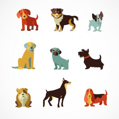 Dogs vector set of icons and illustrations clip art vector