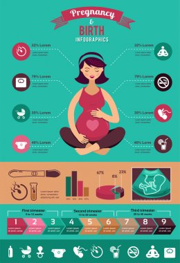 Pregnancy and birth infographics, icon set