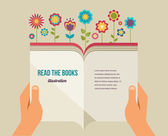 Fotografie Open book with flowers, flat icons
