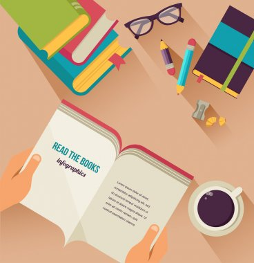 Desktop with open book, book stock, coffee, set of flat vector icons stock vector