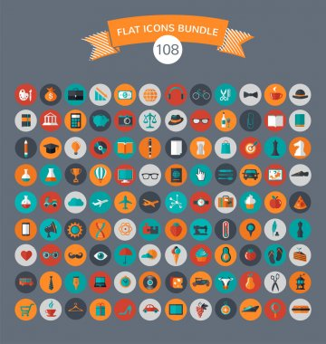 Huge collection of flat vector icons with modern colors of travel, marketing,  hipster ,science, education ,business ,money ,shopping, objects, food stock vector