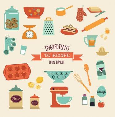 Recipe and kitchen vector design, icon set