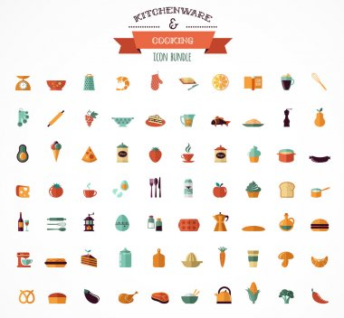 Cooking & Backing flat icons, Kitchenware elements
