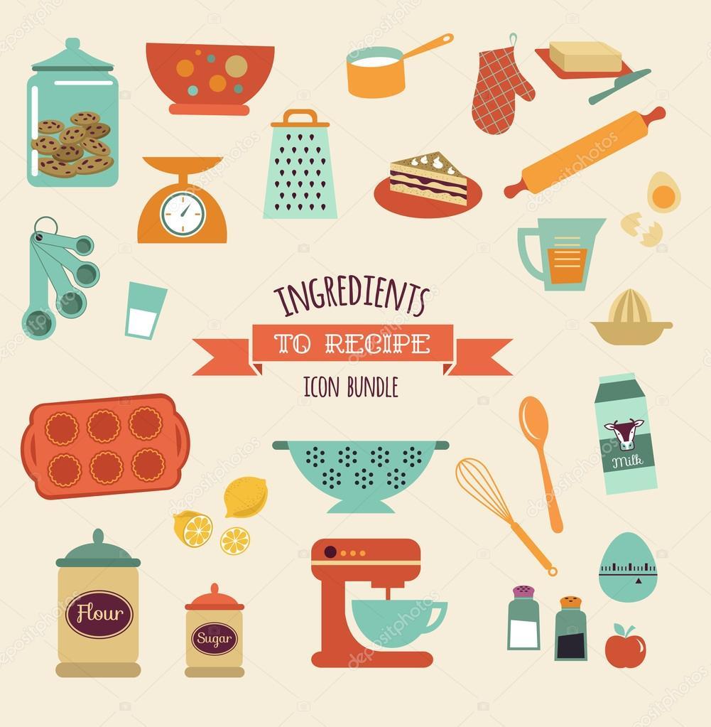 Receta y el diseño vector de cocina, conjunto de iconos ...
