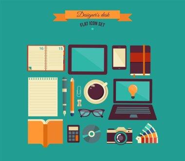 Designer's desktop, set of flat icons