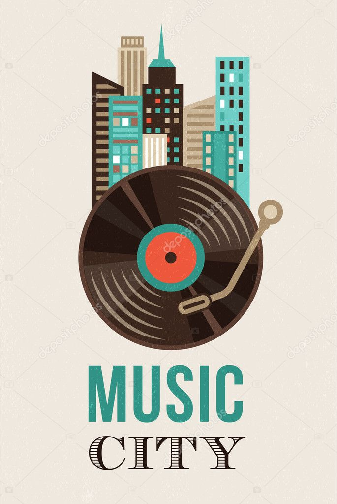 Music and city landscape background
