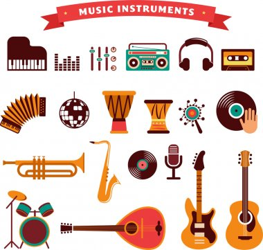 Musical instruments, vector illustrations flat icons and elements set clip art vector
