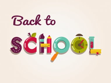 Back to school - text with icons. Vector concept background