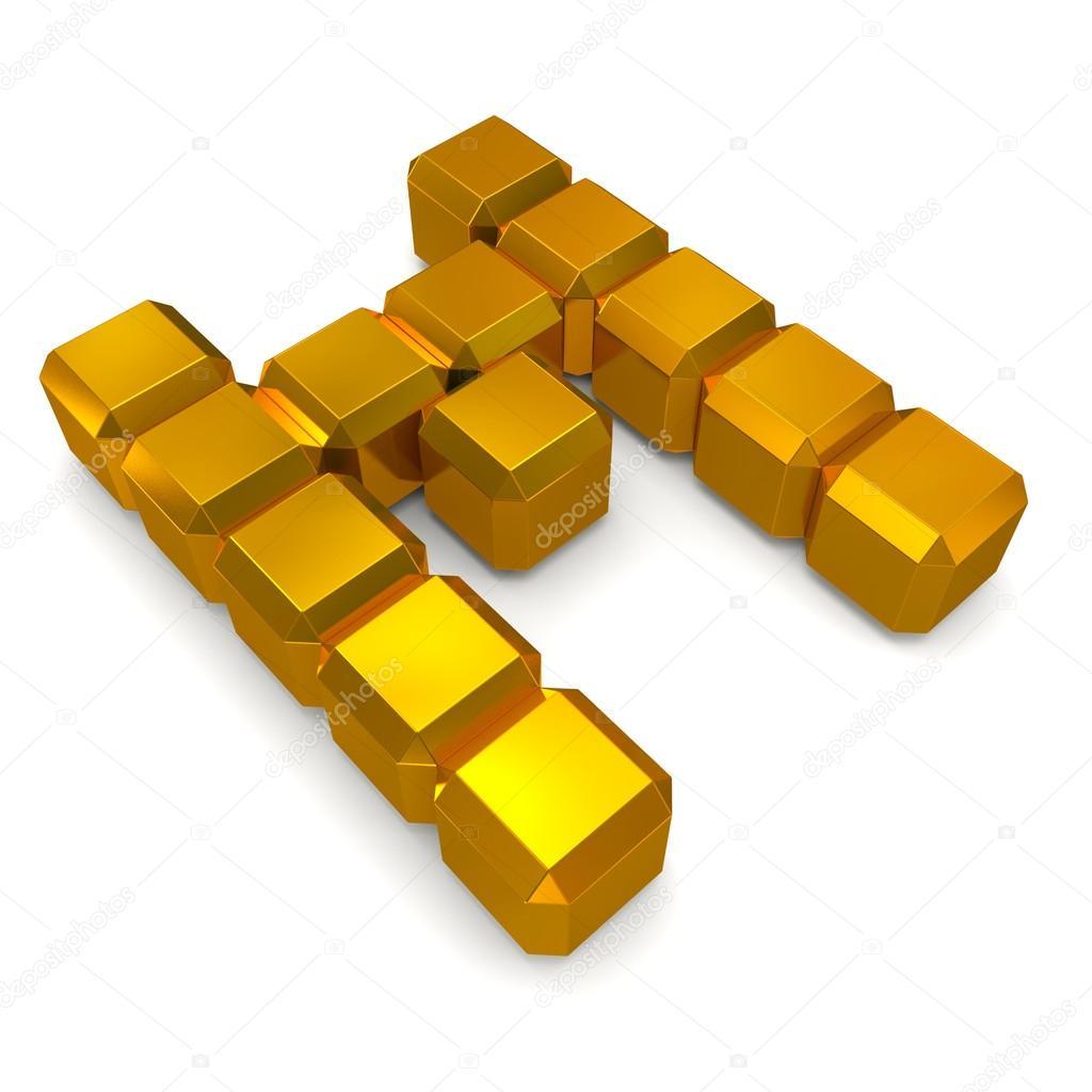 letter M cubic golden
