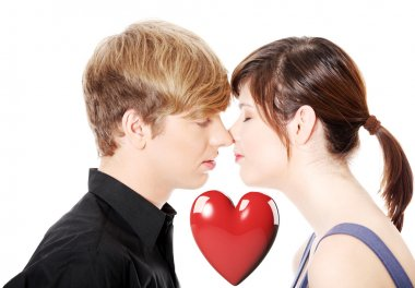 Kissing young couple. Isolated on white background. stock vector