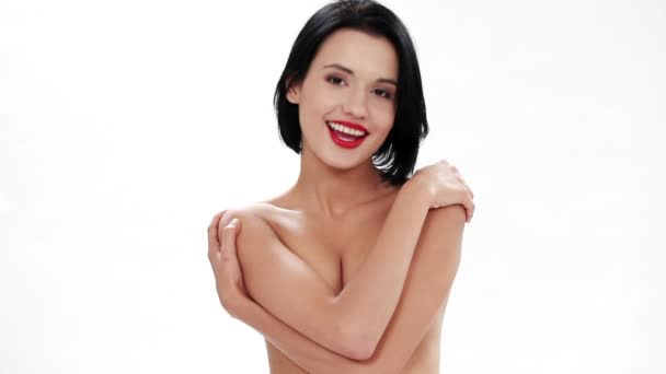 Gyönyörű félmeztelen nő.