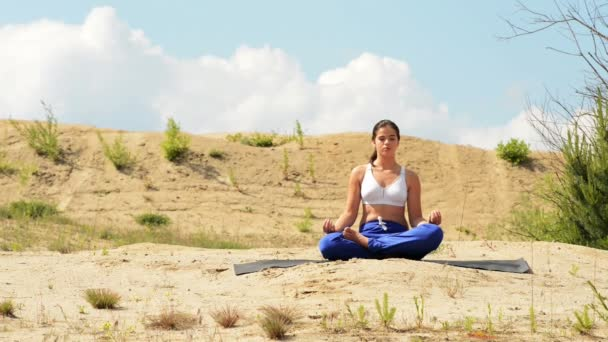 Attractive woman practices yoga in nature.